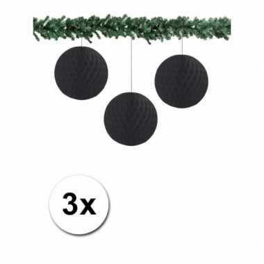 Zwarte kerstversiering ballen van papier 10 cm 3 stuks