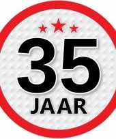 10x 35 jaar leeftijd stickers rond 15 cm verjaardag versiering