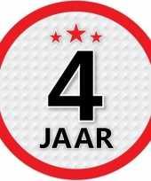10x 4 jaar leeftijd stickers rond 15 cm verjaardag versiering
