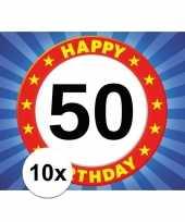 10x 50 jaar leeftijd sticker 7 5 x 10 5 cm verjaardag versiering