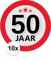 10x 50 jaar leeftijd stickers rond 9 cm verjaardag versiering