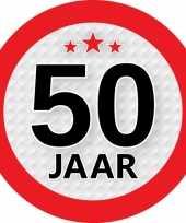 10x 50 jaar versiering stickers rond 9 cm