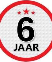10x 6 jaar leeftijd stickers rond 15 cm verjaardag versiering