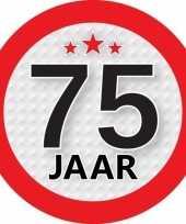 10x 75 jaar leeftijd stickers rond 9 cm verjaardag versiering