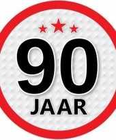 10x 90 jaar leeftijd stickers rond 15 cm verjaardag versiering