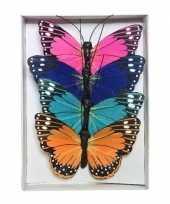 12x gekleurde vlinders op draad 9 cm versiering