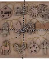 12x houten kerstversiering hangversierings bruin gouden glitters