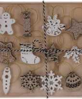 12x houten kerstversiering hangversierings wit gouden glitters
