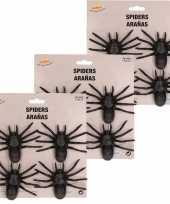 12x plastic nep spinnen 10 cm halloween versiering
