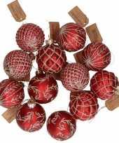 12x rode luxe glazen kerstballen met gouden versiering 6 cm
