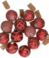 12x rode luxe glazen kerstballen met gouden versiering 8 cm