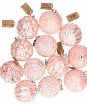 12x roze luxe glazen kerstballen met gouden versiering 8 cm