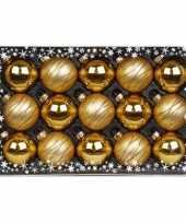 15x gouden luxe glazen kerstballen met versiering 6 cm