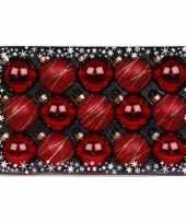 15x rode luxe glazen kerstballen met versiering 6 cm