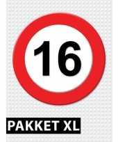 16 jarige verkeerbord versiering pakket xl