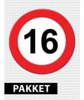 16 jarige verkeerbord versiering pakket