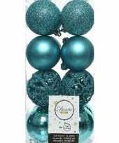 16x turkooise blauwe kerstballen 6 cm glanzende matte glitter kunststof plastic kerstversiering