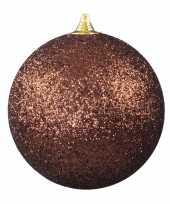 1x bruine grote versiering kerstballen met glitter kunststof 25 cm