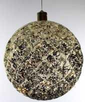 1x grote gouden verlichte versiering kerstballen 20 cm
