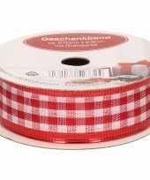 1x hobby versiering rood wit satijnen sierlint met ruiten 2 5 cm 25 mm x 270 cm