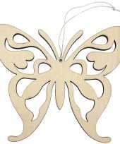 1x houten vlinders 16 5 x 14 cm ophang versiering