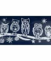 1x kerst raamversiering raamstickers witte uilen 23 x 49 cm