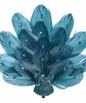 1x kerstboomversiering vogels op clip pauw glitter blauw 17 cm