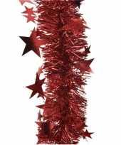 1x rode sterren kerstslingers 10 x 270 cm kerstversiering