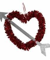 1x rood valentijn bruiloft hangversiering hart met pijl 45 cm