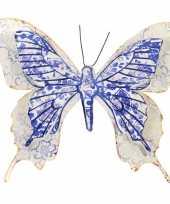 1x tuinversiering vlinder van metaal blauw wit 31 cm