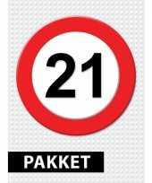 21 jarige verkeerbord versiering pakket