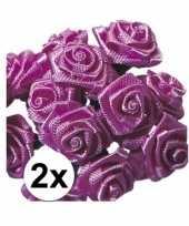 24 versiering rozen donker roze 12 cm