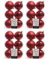 24x kerstboom versiering kerstballen mix kerst rood