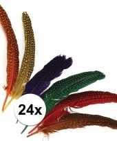 24x versieringve veren met stippen