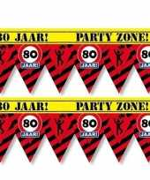 2x 80 jaar party tape markeerlinten waarschuwing 12 m versiering