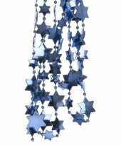 2x blauwe kerstversiering ster kralenslinger 270 cm