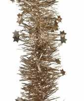 2x bruine kerstversiering folie slinger met ster 270 cm