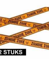 2x caution versieringlint oranje 6 meter