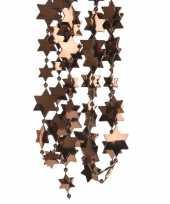 2x donker bruine kerstversiering ster kralenslinger 270 cm
