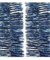 2x donkerblauwe kerstslinger 270 cm kerstboom versieringen