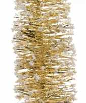 2x gouden kerstversiering folie slinger met sneeuw 200 cm