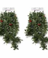 2x groene kerst slingers guirlandes met rode versiering 270 cm