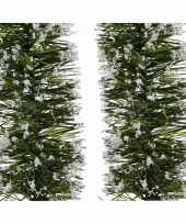 2x groene sneeuw kerstslinger 7 x 200 cm kerstboom versieringen