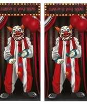 2x horror clown deurposters 75 x 150 cm halloween versiering