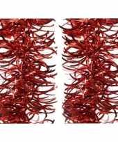 2x kerst rode golf kerstslinger 10 x 270 cm kerstboom versiering