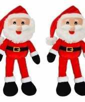 2x kerst versiering kerstmannen pop van pluche 41 cm
