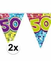 2x mini vlaggenlijn slinger verjaardag versiering 50 jaar