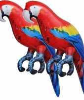 2x opblaasbare ara papegaaien vogels 25 cm versiering speelgoed