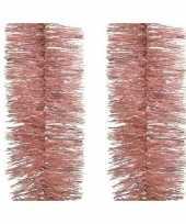 2x roze kerstslinger 270 cm kerstboom versieringen