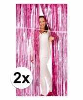 2x roze versiering deurgordijn van folie